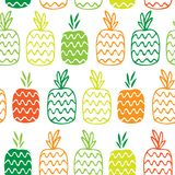 Teste padrão sem emenda com abacaxis do contorno Fotos de Stock