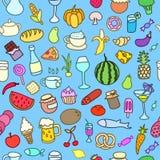 Teste padrão sem emenda com alimento Vetor desenhado mão Fotos de Stock