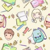 Teste padrão sem emenda com alunos e acessórios da escola ilustração royalty free