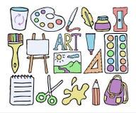 Teste padrão sem emenda com artigos de papelaria Assuntos para a faculdade criadora Vector o fundo com tesouras, pinte-o, escove- Imagens de Stock