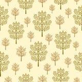Teste padrão sem emenda com as árvores abstratas verdes, douradas e marrons em um fundo bege ilustração do vetor