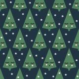 Teste padrão sem emenda com as árvores de sorriso e os flocos de neve do xmas do sono Imagens de Stock