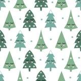 Teste padrão sem emenda com as árvores de sorriso e os flocos de neve do xmas do sono Fotos de Stock Royalty Free