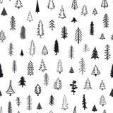 Teste padrão sem emenda com as árvores diferentes do xmas da garatuja do abeto do pinho das coníferas Fotografia de Stock