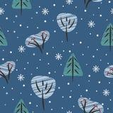Teste padrão sem emenda com as árvores e os arbustos de floresta do inverno sob a neve ilustração stock