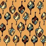 Teste padrão sem emenda com as árvores no fundo do Sienna Imagens de Stock Royalty Free