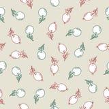 Teste padrão sem emenda com as bagas do rosa da garatuja e as maçãs de água-marinha em um claro - fundo cinzento ilustração do vetor