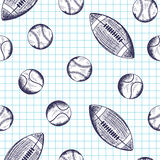 Teste padrão sem emenda com as bolas diferentes tiradas mão do esporte Fotografia de Stock