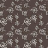 Teste padrão sem emenda com as bolas vegetais do alho fresco para o projeto do fundo Teste padrão quadriculação Fotografia de Stock Royalty Free