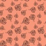 Teste padrão sem emenda com as bolas vegetais do alho fresco para o projeto do fundo Teste padrão quadriculação Imagens de Stock Royalty Free