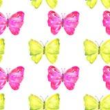 Teste padrão sem emenda com as borboletas amarelas e cor-de-rosa coloridas Ilustra??o tirada m?o da aguarela Textura para a c?pia ilustração do vetor