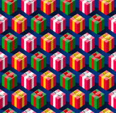 Teste padrão sem emenda com as caixas de presente por feriados Foto de Stock Royalty Free