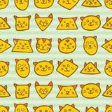 Teste padrão sem emenda com as caras alaranjadas do gato em fundo azul listrado Imagem de Stock