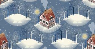 Teste padrão sem emenda com as casas europeias acolhedores Inverno Ilustração lisa do estilo Fotos de Stock