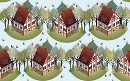 Teste padrão sem emenda com as casas europeias acolhedores Mola Ilustração lisa do estilo Imagem de Stock Royalty Free