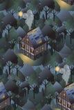 Teste padrão sem emenda com as casas europeias acolhedores noite Ilustração lisa do estilo Imagem de Stock Royalty Free