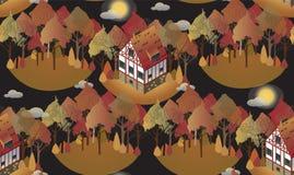 Teste padrão sem emenda com as casas europeias acolhedores outono Ilustração lisa do estilo Imagens de Stock
