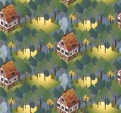 Teste padrão sem emenda com as casas europeias acolhedores verão Ilustração lisa do estilo Fotografia de Stock