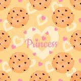 Teste padrão sem emenda com as cookies deliciosas dos pedaços de chocolate, corações cor-de-rosa para a princesa Fotografia de Stock Royalty Free