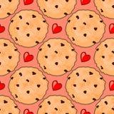 Teste padrão sem emenda com as cookies deliciosas dos pedaços de chocolate e corações vermelhos Foto de Stock