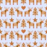 Teste padrão sem emenda com as cookies do pão-de-espécie do Natal - árvore do xmas, estrela, coração, cervo Ilustração Stock