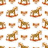 Teste padrão sem emenda com as cookies do pão-de-espécie do Natal - cavalo e curva de balanço Foto de Stock