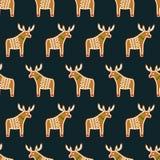 Teste padrão sem emenda com as cookies do pão-de-espécie do Natal - cervos do xmas Ilustração Stock