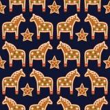 Teste padrão sem emenda com as cookies do pão-de-espécie do Natal - estrela e cavalo do xmas Fotos de Stock