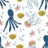 Teste padrão sem emenda com as criaturas coloridas do mar ilustração royalty free