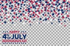 Teste padrão sem emenda com as estrelas para 4ns da celebração de julho no fundo transparente ilustração stock