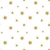 Teste padrão sem emenda com as estrelas textured brilho do ouro Vetor Fotos de Stock