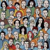 Teste padrão sem emenda com as faces unrecognizable dos povos. Imagem de Stock Royalty Free