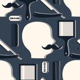 Teste padrão sem emenda com as ferramentas para a barbearia ilustração stock