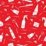 Teste padrão sem emenda com as ferramentas profissionais do cabeleireiro Forme ilustração royalty free