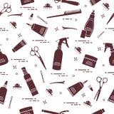 Teste padrão sem emenda com as ferramentas profissionais do cabeleireiro Forme ilustração do vetor