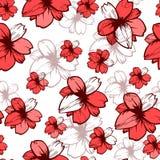 Teste padrão sem emenda com as flores cor-de-rosa no fundo branco Projeto de matéria têxtil da tela da forma do vetor Fotos de Stock Royalty Free