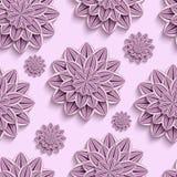 Teste padrão sem emenda com as flores 3d de papel roxas Fotografia de Stock