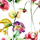 Teste padrão sem emenda com as flores das tulipas e da peônia Imagens de Stock Royalty Free