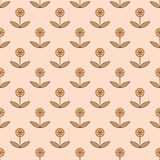 Teste padrão sem emenda com as flores decorativas pequenas Fotografia de Stock Royalty Free