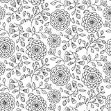 Teste padrão sem emenda com as flores desenhadas mão Foto de Stock