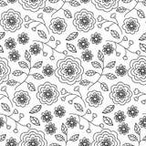 Teste padrão sem emenda com as flores desenhadas mão Fotos de Stock Royalty Free