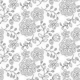Teste padrão sem emenda com as flores desenhadas mão Imagem de Stock Royalty Free