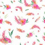 Teste padrão sem emenda com as flores do rosa da aquarela Imagens de Stock Royalty Free
