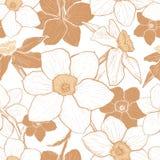 Teste padrão sem emenda com as flores dos narciso Fotografia de Stock