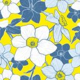Teste padrão sem emenda com as flores dos narciso Fotografia de Stock Royalty Free