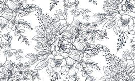 Teste padrão sem emenda com as flores e as plantas tiradas mão ilustração royalty free