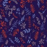 Teste padrão sem emenda com as flores no fundo escuro ilustração stock