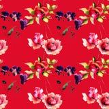 Teste padrão sem emenda com as flores originais no fundo vermelho Foto de Stock Royalty Free