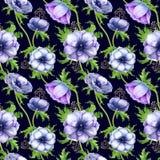 Teste padrão sem emenda com as flores roxas brancas da anêmona da aquarela Design floral da mola para o convite do casamento imagem de stock royalty free
