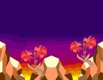 Teste padrão sem emenda com as flores vermelhas do cosmos nos penhascos na perspectiva do sol de ajuste Beira horizontal ilustração do vetor